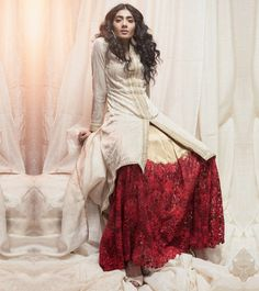 Off White Golden Georgette Thread Work & Sequined Lehenga Set