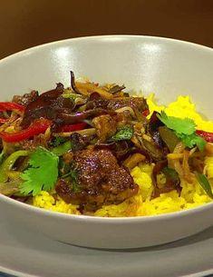 Ostrá kuracia pečienka na ázijský spôsob Food And Drink, Beef, Cooking, Meat, Kitchen, Brewing, Cuisine, Cook, Steak