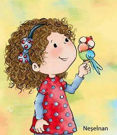 Art Drawings For Kids, Drawing For Kids, Cute Drawings, Cute Cartoon Wallpapers, Cartoon Pics, Cartoon Drawings, Cute Little Girls, Children's Book Illustration, Whimsical Art