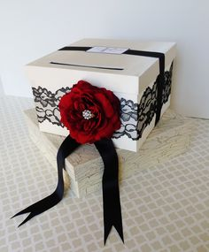Wedding Card Box in Ivory with Black Lace and a Red Rose