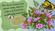 Katarína  Dnes by som Ti popriať chcela zdravia, šťastia, lásky veľa. Láska nech Ťa stále hreje, nech Ti nikdy smutno nie jei