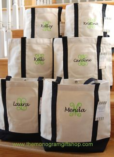 Love these totes for bridesmaids gifts!