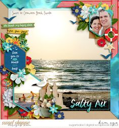 Digital scrapbook layout using I Heart Summer: Beach collection by Amber Shaw and Kelly Bangs Creative; and Scrap Your Stories: Wedding Duo templates by Brook Magee (found at Sweet Shoppe Designs)