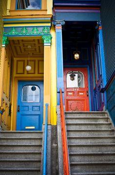 Painted doors in San Francisco.  Doors. Travel.
