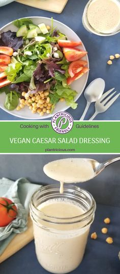 I do love a good salad dressing! It can be a pain to make homemade salad dressings, and I certainly mix up some less enjoyable dressings from time to time. On my journey eating whole food plant based meals I make sure to cut back on oils often. So I was wondering how I could make a delicious salad dressing without oil. Creamy Salad Dressing, Spring Salad, Caesar Salad, How To Cook Quinoa, Salad Dressings, Healthy Salads, Nutritious Meals, Plant Based Recipes, Whole Food Recipes