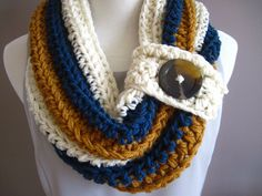 """Chunky Bulky Button Crochet Cowl: Off White, Windsor Blue, Honey Brown: This beautiful cowl is chunky, thick, & warm. Measuring 11"""" W and sporting a 2"""" button, it is perfect to keep the chill off and make a fashion statement at the same time."""