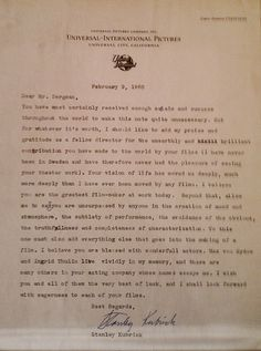 """Stanley Kubrick's letter to Ingmar Bergman. """"I believe you are the greatest film-maker at work today."""""""