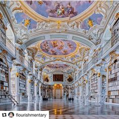 #Repost @flourishmentary  The original inspiration for the ginormous library in #beautyandthebeast was actually this colorful room inside the the Admont Abbey library. See all the other dreamy real world places that inspired the film by click the link in bio  Photo via  @versaillesadness_  by @juliakoenigsberger  . . #austria #austrian #historic #fresco #rococo #landmark #abbey #church #admont #stift #palace #art #architecture #luxury  #library #baroque #travel #discover #vogueliving…