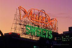 Allen's Sweets neon sign (now dismantled) in Melbourne, Australia (adonline.id.au)