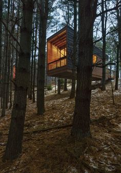 "Wilderness cabins were built on concrete piers to minimize the impact on the land and hover above the surrounding area creating a ""house in the trees"" feeling and a sense of privacy in Minnesota by HGA Architects and Engineers. Forest Cabin, Forest House, Cabin Design, House Design, Casas Containers, Cabin In The Woods, Mountain Homes, Beautiful Homes, Architecture Design"