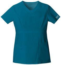 Cherokee WorkWear 24703 Core Stretch Junior Fit V-Neck Top Cherokee Uniforms, Cherokee Scrubs, Core Stretches, Medical Uniforms, Princess Seam, Teal Blue, V Neck Tops, Work Wear, Short Sleeve Dresses
