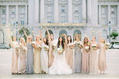 winter wedding colors and planning ideas. Metallic Bridesmaid Dresses, Champagne Bridesmaid Dresses, Mismatched Bridesmaid Dresses, Wedding Bridesmaids, Wedding Dresses, Wedding Gallery, City Hall Wedding, Dream Wedding, Gift Wedding