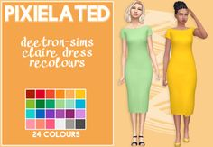 """- 24 recolours of @deetron-sims claire dress - adds swatches to the original - unisex, teen to elder - feel free to tag me using #xdeadgirlwalking and #userpixielated - you can request things for me to recolour next - mesh is..."