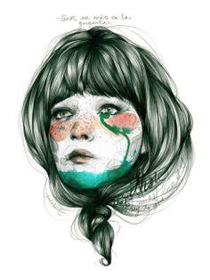 Paula Bonet illustration ~ Nus a la gola Paula Bonet, L'art Du Portrait, Psy Art, Arte Sketchbook, Illustrations And Posters, Photomontage, Art Inspo, Painting & Drawing, Watercolor Art