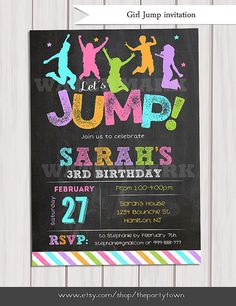 Jump invitation, Girl Bounce house invitation, Trampoline party invitation, Trampoline birthday invitation, invitation Printable DIY This listing
