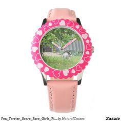 Fox_Terrier_Scare_Face_Girls_Pink_Hearts_Watch Wrist Watch