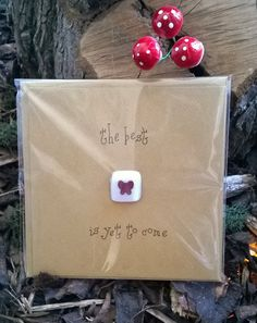 Gift card - 'The best is yet to come' - With removable keepsake fused glass tile and encapsulated copper butterfly by gekoglass on Etsy