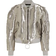 Off-White Metallic taffeta bomber jacket ($1,715) ❤ liked on Polyvore featuring outerwear, jackets, coats & jackets, bomber jackets, blouson jacket, off white jacket, bomber style jacket, zip bomber jacket and flight jacket