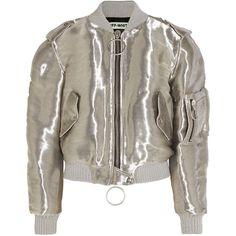Off-White Metallic taffeta bomber jacket (22.503.535 IDR) ❤ liked on Polyvore featuring outerwear, jackets, coats & jackets, bomber jackets, metallic bomber jacket, zip jacket, zip bomber jacket, taffeta jacket and blouson jacket