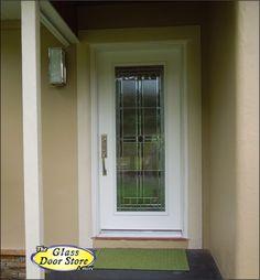 A new single front door with a modern glass door insert.
