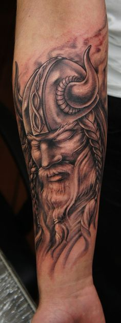 Pacified Viking warrior tattoo on forearm Trendy Tattoos, Black Tattoos, Tattoos For Guys, Cool Tattoos, Men Tattoos, Tatoos, Viking Tattoos For Men, Viking Warrior Tattoos, Viking Tattoo Sleeve