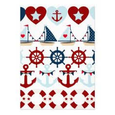 Summer Nautical Theme Anchors Sail Boats Helms Invites