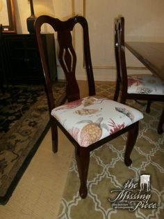 High cherry gloss dining chairs with the most wonderful coral print design. Bring the old straight into the new. Sold as a of four (4).