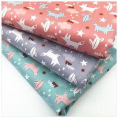 Cartoon Fox Print Twill Cotton Fabric Tissue Kids Cloth Bedding Patchwork HomeTextiles DIY Handmade Sewing Craft 160*50cm