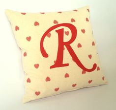 Personalised Letter Cushion Cover heart themed by JaredDesigns