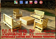 6 Seater bench set. This set consists of 2 x double seater benches, 2 x single seater benches and a coffee table. Perfect for outdoor use. If it's made from wood, we'll build it. Contact us for all your wooden furniture requirments or inquiries at 0834376919 (WhatsApp) or naileditpallets@gmail.com #outdoorfurniture #outdoorbench #outdoorbenches #patioideas #patiofurniture #custompalletfurniture #customfurniture #custompalletfurnituredurban #nailedpalletfurnituredurban…