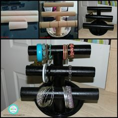 DIY Paper Towel Roll Jewelry Holder or instead of paper towel rolls use pvc tubes for something strongerhttp://www.hometalk.com/8145199/diy-paper-towel-roll-jewelry-holder