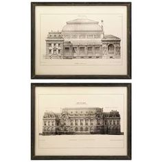 Set of two framed architectural prints.    Product: 2 Piece wall art setConstruction Material: Birch and MDFColor: Antiqued espresso frameFeatures: Architecturally inspired building printsDimensions: 24.5 H x 32 W each
