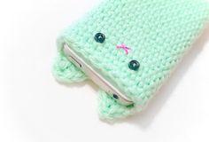 iPhone 5 Cover - Mint Green Crochet Kawaii Kitty
