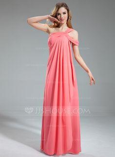 A-Line/Princess One-Shoulder Floor-Length Chiffon Bridesmaid Dress With Cascading Ruffles (007019609) - JJsHouse