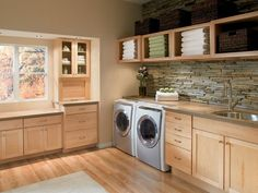 A laundry room (also called a utility room) is a room where clothes are washed. In a modern home, a laundry room would be equipped with an automatic washin