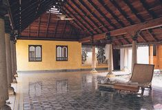 Kerala Architecture, Colonial Architecture, Village House Design, Village Houses, Timber Roof, Indian Interiors, Internal Courtyard, Stone Columns, Built In Furniture