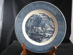"""CURRIER and IVES Royal China Old Grist Mill 10"""" Dinner Plate Blue & White by RuthiesCollectables on Etsy"""