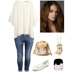 A fashion look from March 2015 featuring plus size tunics, boyfriend jeans and ballet flats. Browse and shop related looks.
