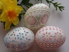Easter Eggs Carved and WaxEmbossed Set of 3 Chicken by EggstrArt