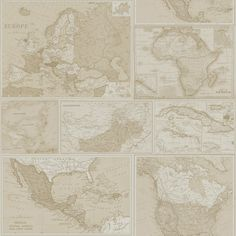 Globetrotter Neutral wallpaper by Albany