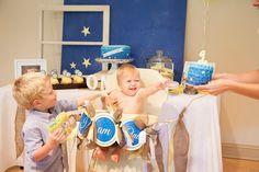 Blue Ombre Scalloped Smash Cake