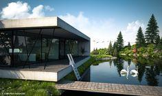 Cinema 4d Render, 3d Visualization, Real Estate Agency, Swan, Shelter, Minimalism, Concrete, Reflection, Sweet Home