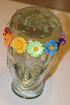 RAINBOW hemp flower crown by BrainBandZ on Etsy