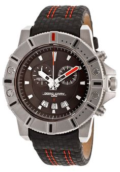 Men's Chronograph Black Dial Genuine Leather
