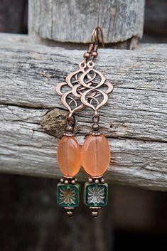 gabi111 / Jadeitové s ornamentom - náušnice