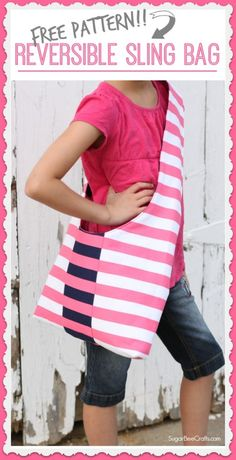how to make a reversible sling bag - comes with a FREE sewing pattern and tutorial - Sugar Bee Crafts