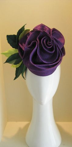Jill and Jack Millinery: freeform purple rose with 3 tone leather leaves