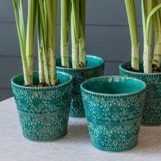 Set of 4 Floral Turquoise Pots - Plant Pots - Home Decoration - Home Accessories
