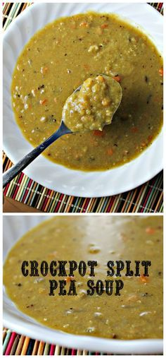 This hearty split pea soup is made in the slow cooker! Making it an easy good-for-you weeknight meal.