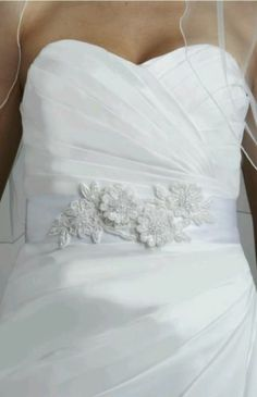 David's Bridal Beaded Lace Applique Sash Soft White  style G21597B $79 Retail | eBay